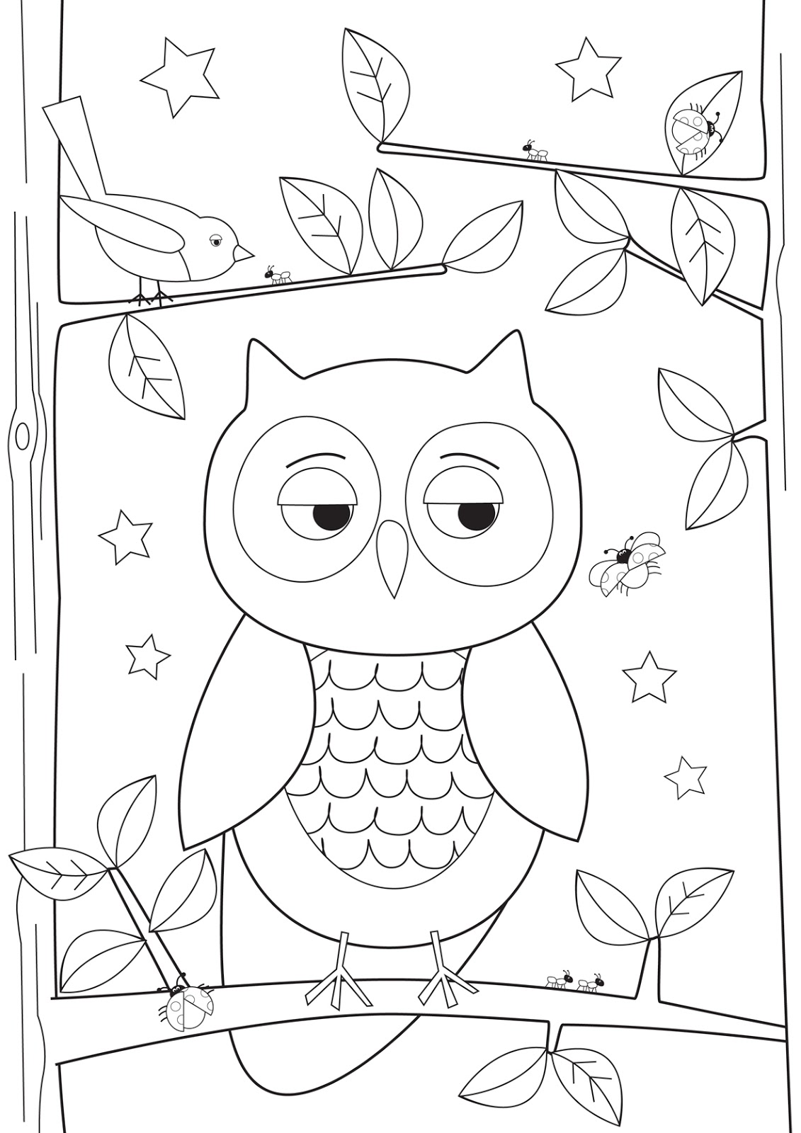 freebie colour me in sleepy owl - Picture Outlines For Colouring
