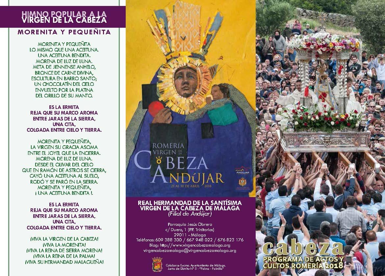 Programa de Actos y Cultos ROMERÍA 2018. Real Hdad. de Málaga.