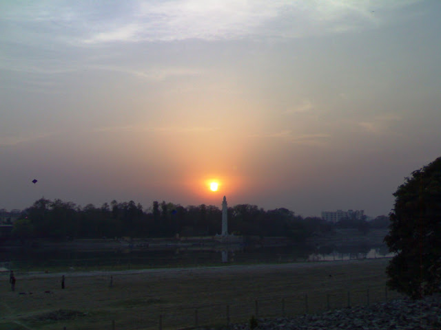 Shaheed Smarak - a view in evening from the bank of Gomti River in Lucknow