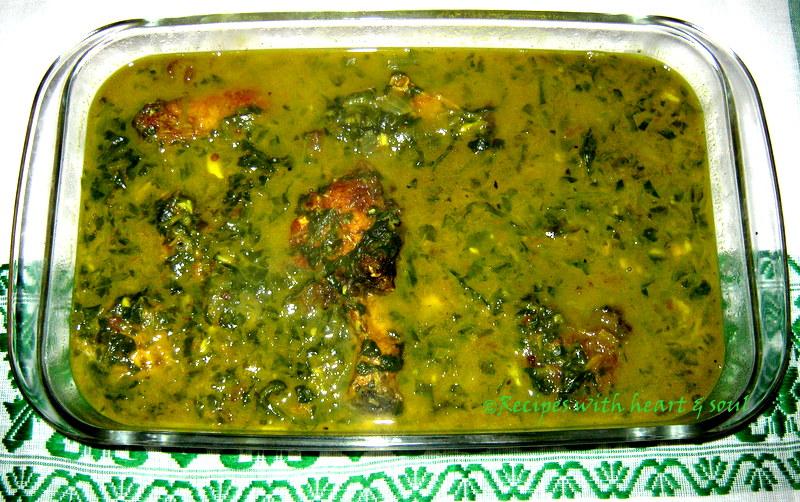 Assamese recipes paleng xaakor logot maasor jool spinach for Assamese cuisine fish