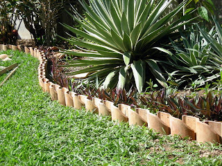 clay tile garden bed edging
