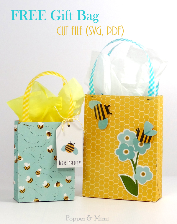 Download a free SVG or PDF cut file for this cute gift bag at popperandmimi.com