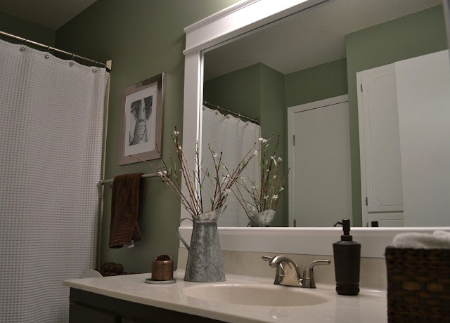How to make a frame for a mirror interior home design home decorating for How to frame mirror in bathroom