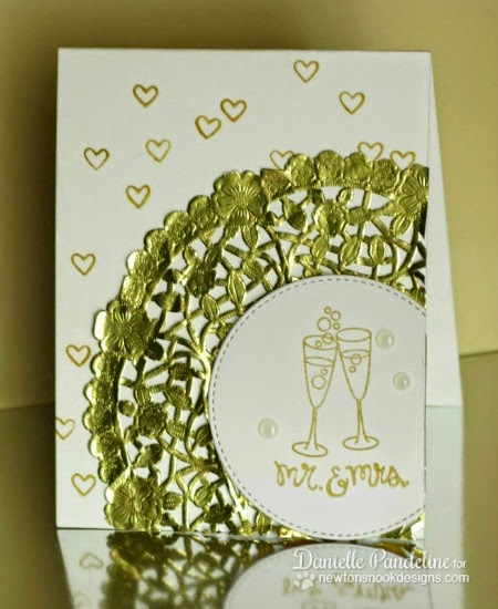 Mr. & Mrs. Champange Card by Danielle Pandeline | Years of Cheers stamp set by Newton's Nook Designs