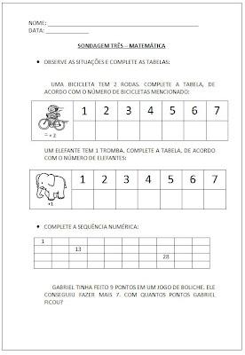 Sondagem Matemática - Atividades Matemática