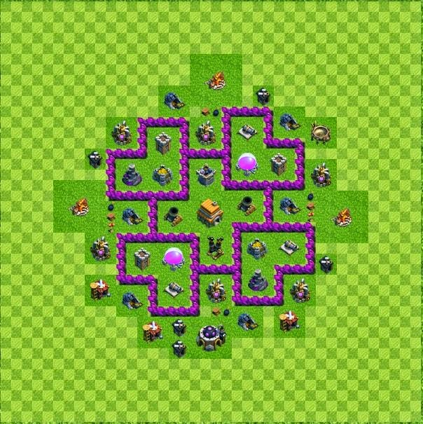 Tipe defense base layout town hall level 6 clash of clans jagat