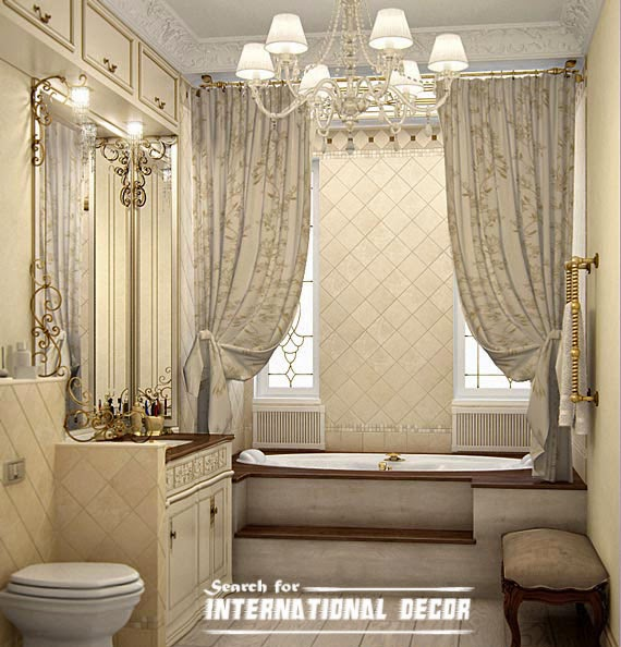 How to design luxury bathroom in classic style Bathroom shower curtain ideas