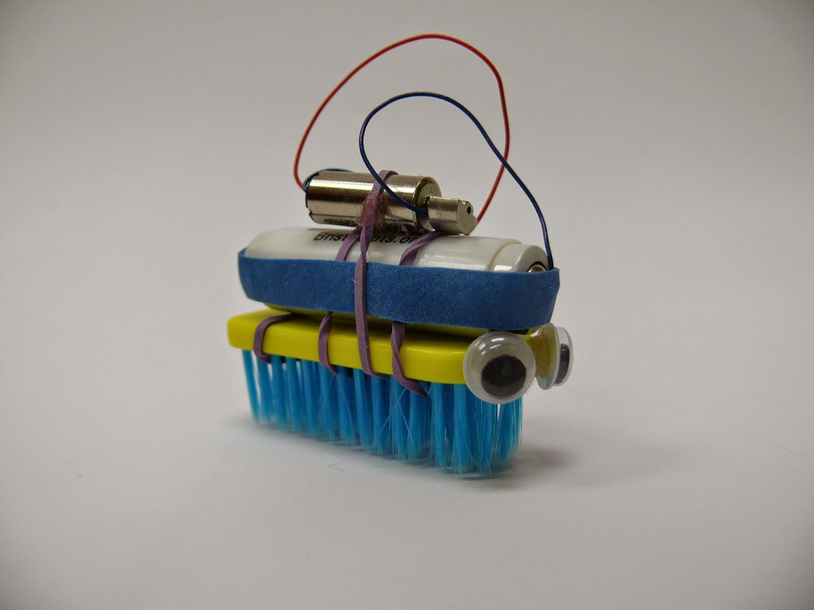 A brushbot robot.