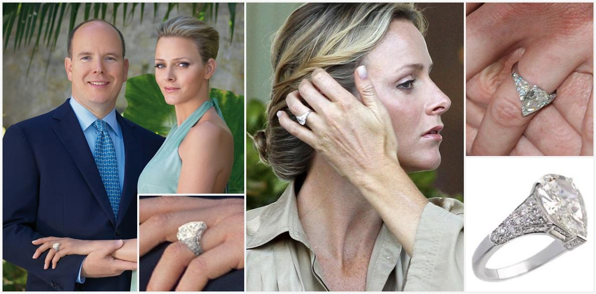 When Prince Albert Announced His Engagement To Charlene Wittstock A Photo Was Released Showing An Enormous Diamond Ring Left Above