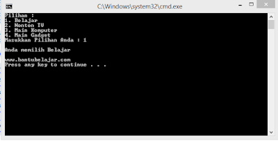 Contoh Pernyataan Switch Pada C++