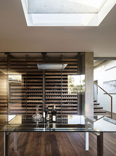 modern wooden wine cellar