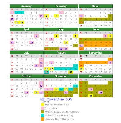 Kalendar Cuti Umum dan Cuti Sekolah 2012
