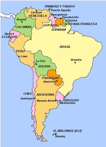Aprendizaje Digital 2.0: Mapa América del Sur