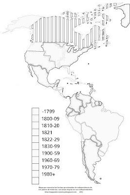Mapa que muestra las fechas aproximadas de independencia de los países de América. Las áreas negras no son independientes, blanco y negro.