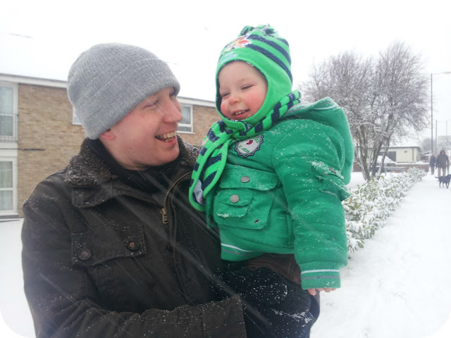 father and son love, daddy and dylan in the snow, first snow
