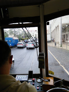 "View from the Tram drivers seat in ""TRAM N0 28""."