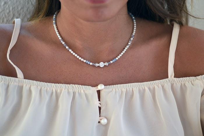 collana cristalli perle