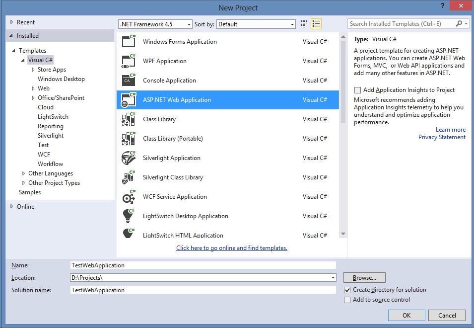 ElanGroup Blog: Creating Web Application in Visual Studio 2013 Update 4