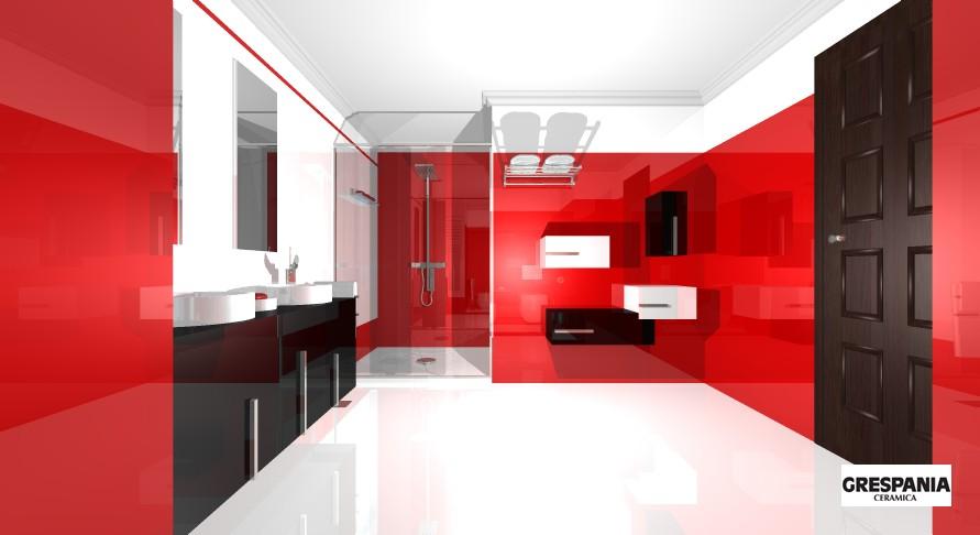 Baño Minimalista Rojo: DE INTERIORES: DISEÑO DE CUARTO DE BAÑO MINIMALISTA EN BLANCO Y ROJO