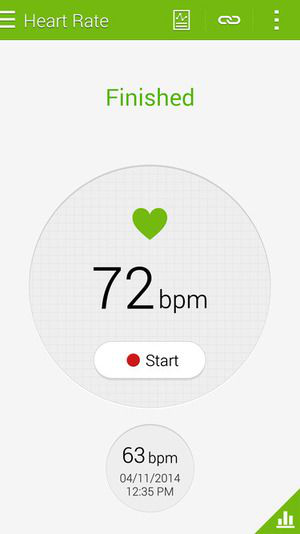 Monitor de batimentos cardíacos do Galaxy S5