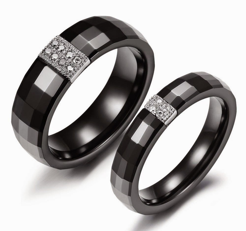 Black Wedding Ring Sets His and Hers Model pictures hd
