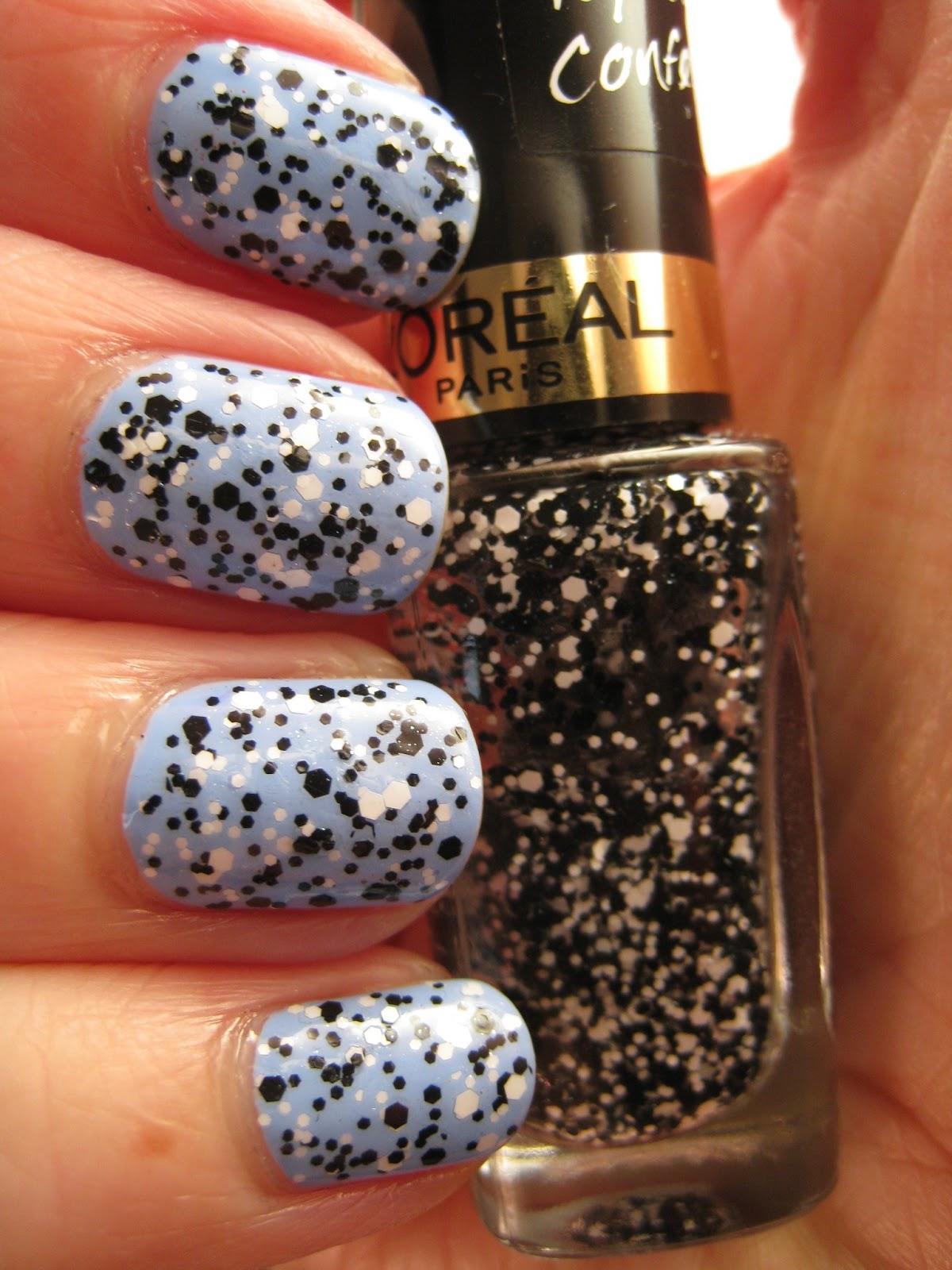 Loreal Confetti Black White Glitter Blue Bourjois Nail