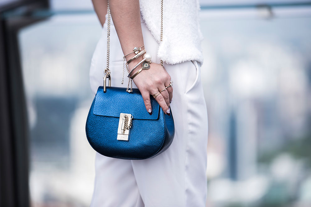 Crystal Phuong- Fashion Blogger: Chloe Drew Blue handbag