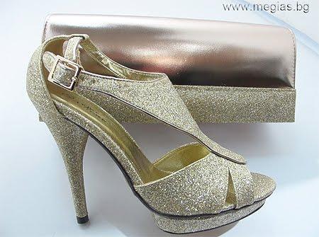 комплект златни обувки и чанта