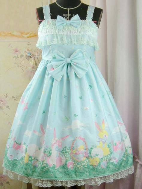 Sweet Bow and Lace Printed Rococo Lolita Dress