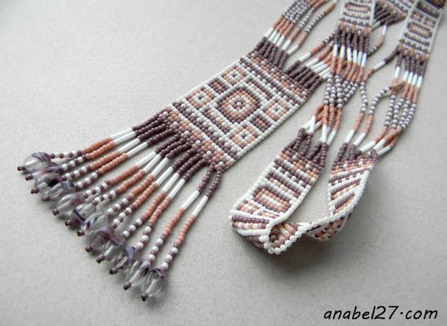 split loom necklace гердан гайтан украшение из бисера