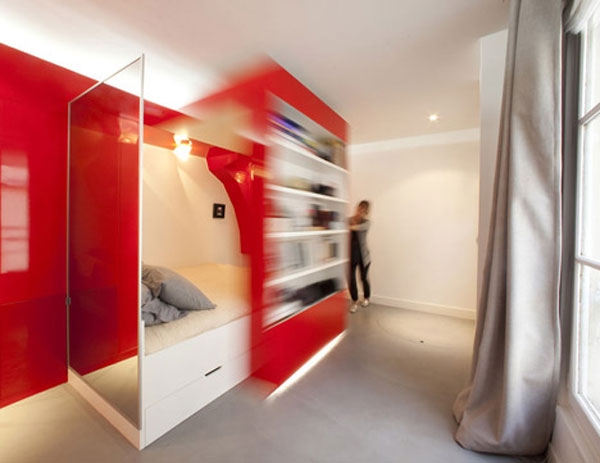 Amazing 247 Square Foot Red Nest Apartment in Paris