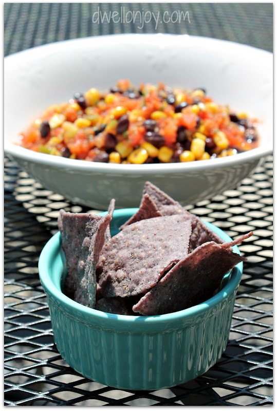Dwell on Joy: {Mom's Party Salsa} Roasted Corn & Black Bean Salsa a l...