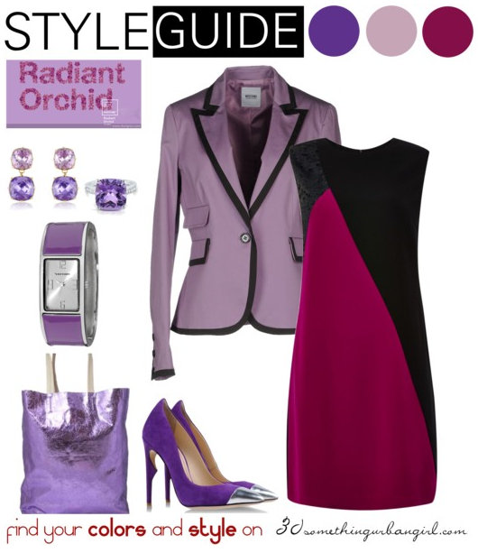 chic and elegant outfit idea with Radiant Orchid for Cool Winter