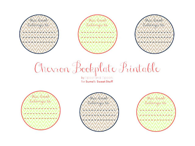 Printable Chevron Bookplates by www.spoolandspoonblog.com for Sumo's Sweet Stuff