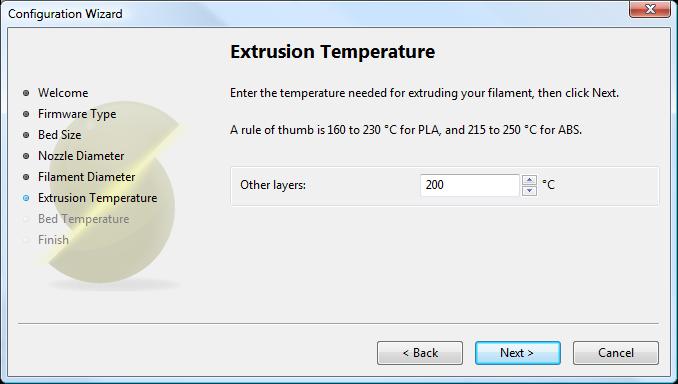 Мастер настройки Slic3r: Температура Экструзии
