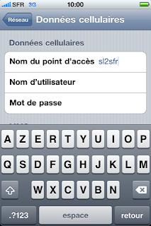 Configuration APN SFR iPhone