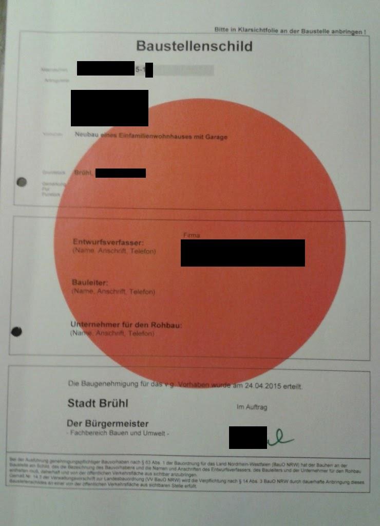 Bautagebuch Brühl - Unser Hausbau im Rheinland : Baugenehmigung