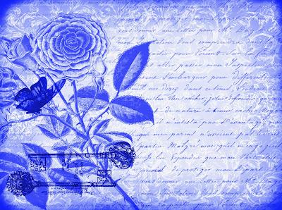 fondo vintage de flores y mariposa con tonos azules