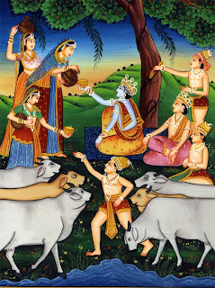 The Brahmins' wives, irresistibly attracted to Krishna, give to him and his companions the food meant for their husbands. Kangra painting, eighteenth century.