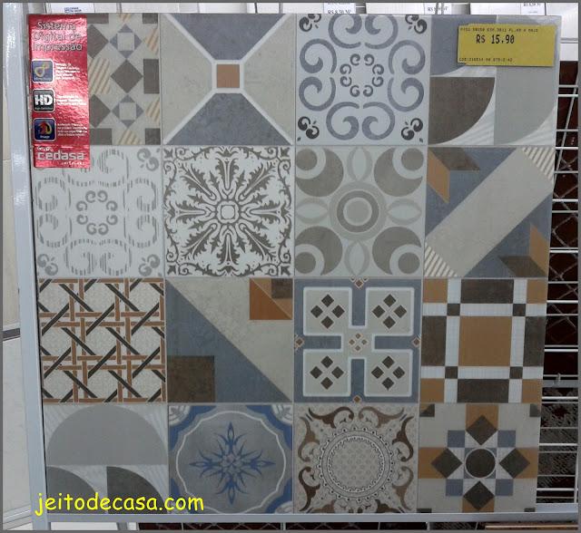 piso ceramico com estampa de ladrilhos