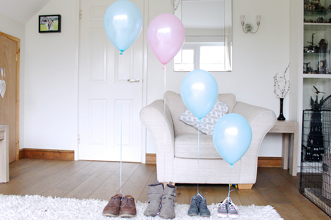 gender reveal, balloon gender reveal, shoe gender reveal,