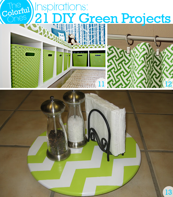 DIY Green Projects - Organize Play Room with Green Baskets, DIY Green Curtains, DIY Chevron Striped Lazy Susan