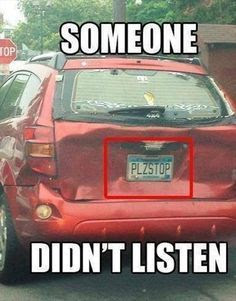 funny license plates, car humor, car jokes, rear ended car, car accident license plate