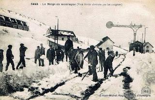 la neige en haute-Loire, neige sur les voies PLM