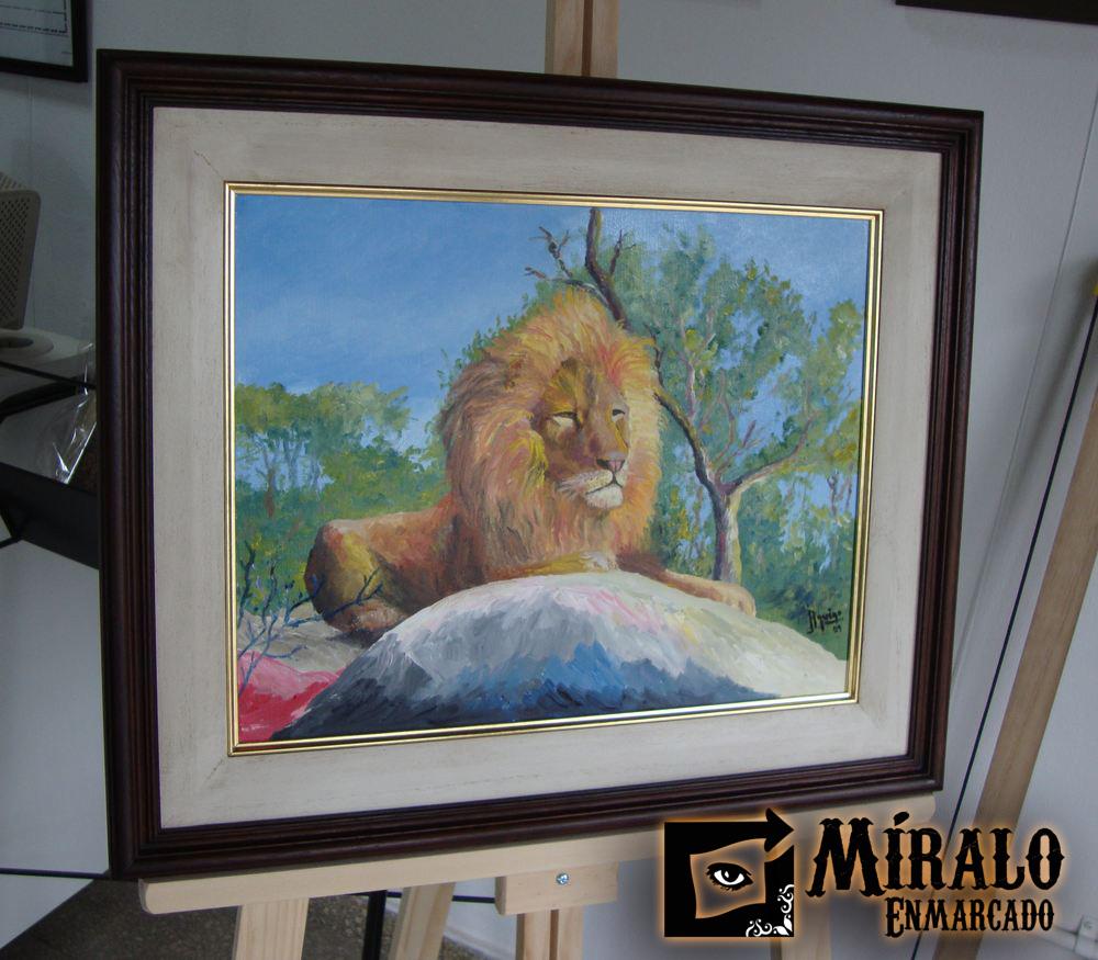 Enmarcado de Pintura - Triple marco con Filete Dorado