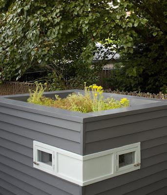 Modernist chicken coop. urban farming.