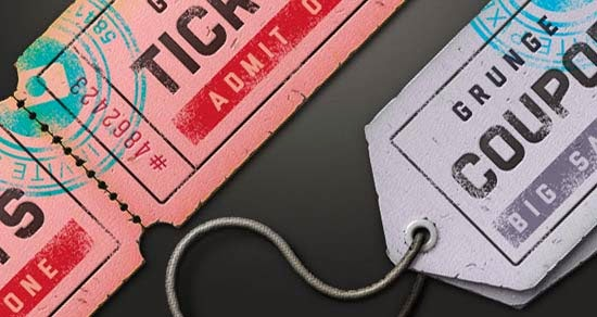 Free PSD Ticket Coupon Sale Tag