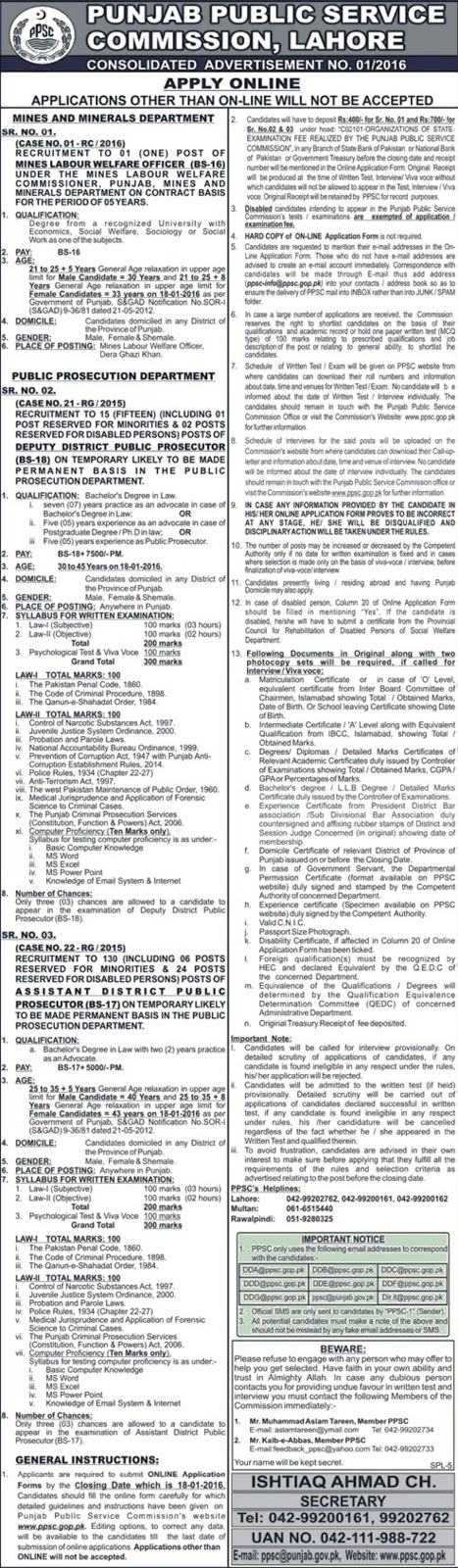LLB Jobs in PPSC Punjab Public Service Commission Jobs in Punjab