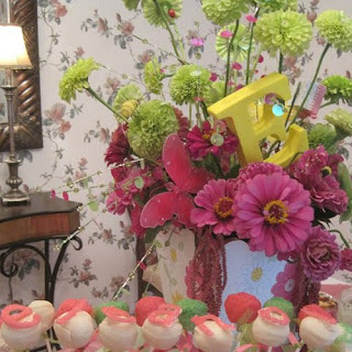 Pink and Green Baby Shower Centerpieces