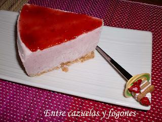 Tarta de mousse de mascarpone y fresas